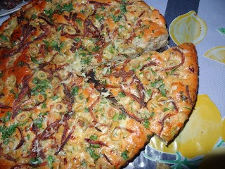 خبز بالزيتون و البصل