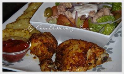 الدجاج في الفرن بالزعتر و الزنجلان